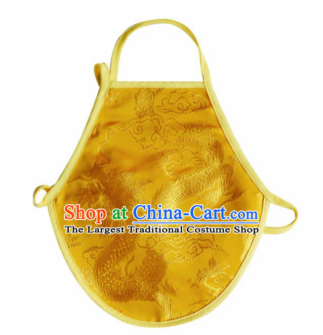 Chinese Classical Embroidered Dragon Brocade Bellyband Traditional Baby Yellow Silk Stomachers for Kids