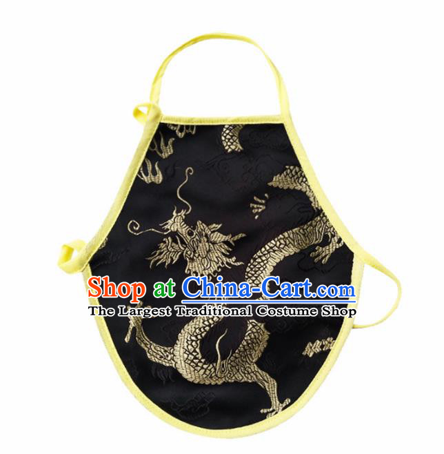Chinese Classical Embroidered Dragon Brocade Bellyband Traditional Baby Black Silk Stomachers for Kids