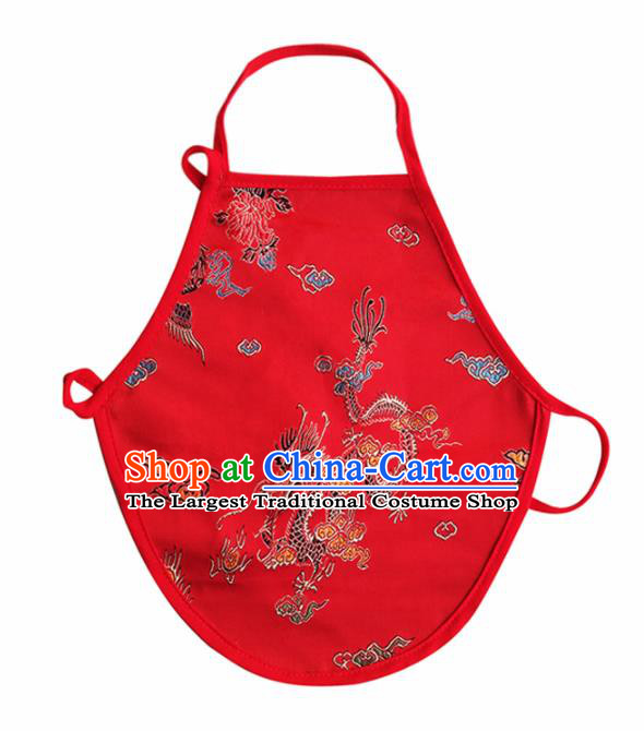 Chinese Classical Brocade Bellyband Traditional Baby Embroidered Dragon Red Silk Stomachers for Kids