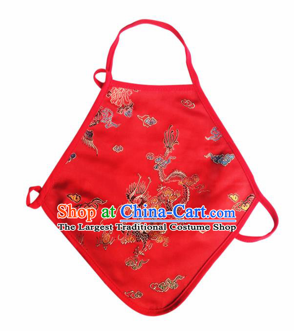Chinese Classical Brocade Bellyband Traditional Baby Embroidered Dragon Red Silk Triangle Stomachers for Kids
