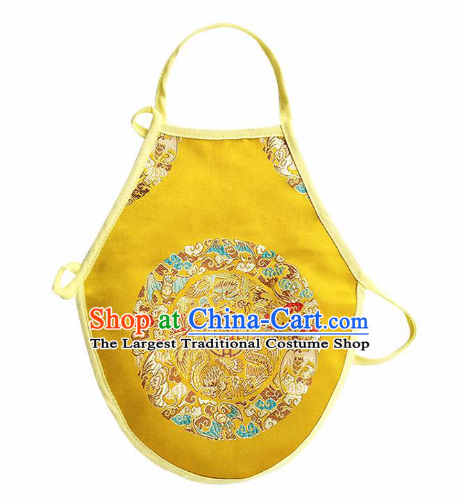 Chinese Classical Brocade Bellyband Traditional Baby Embroidered Dragon Yellow Silk Stomachers for Kids