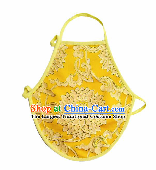 Chinese Classical Brocade Bellyband Traditional Baby Embroidered Lotus Yellow Silk Stomachers for Kids