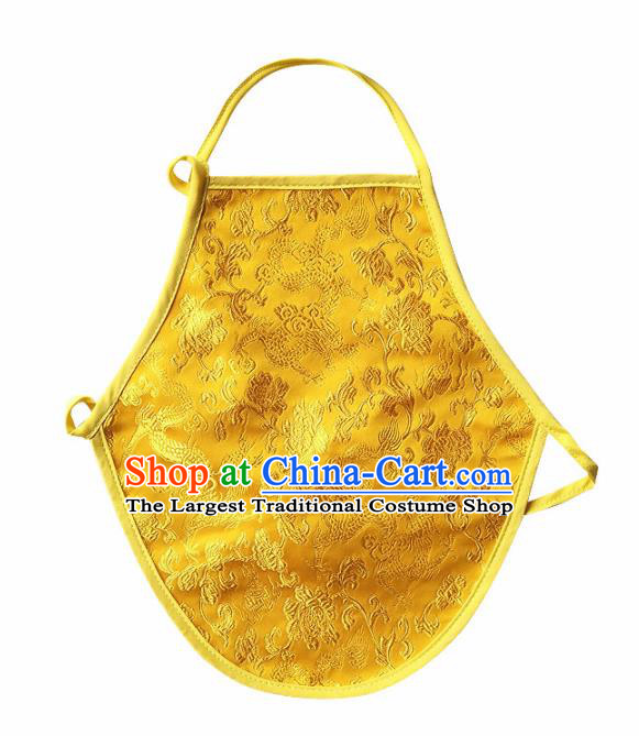 Chinese Classical Brocade Bellyband Traditional Baby Embroidered Yellow Silk Stomachers for Kids