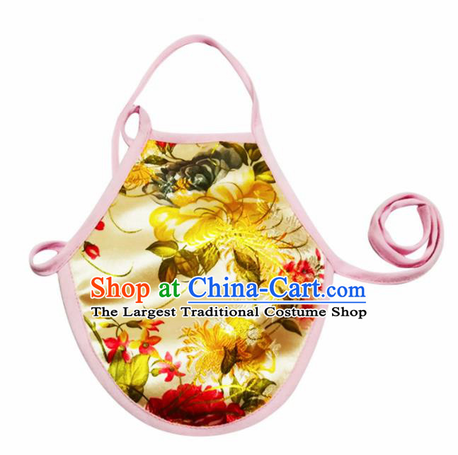 Chinese Classical Brocade Bellyband Traditional Baby Printing Chrysanthemum Silk Stomachers for Kids