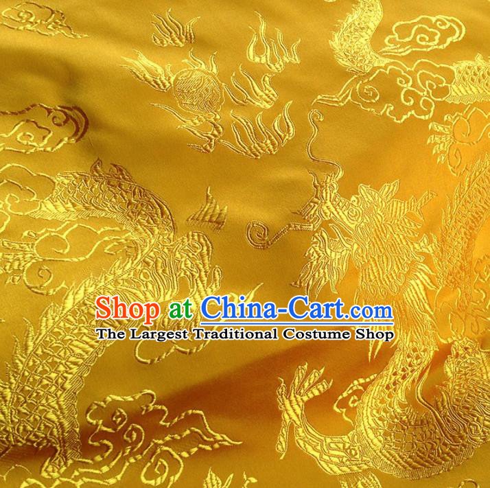 Asian Chinese Traditional Fabric Golden Satin Brocade Silk Material Classical Dragon Pattern Design Satin Drapery