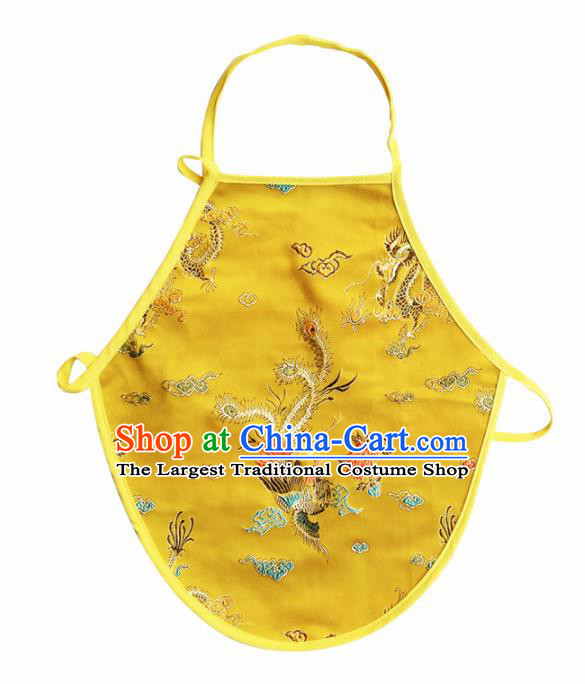 Chinese Classical Brocade Bellyband Traditional Baby Embroidered Phoenix Peony Yellow Silk Stomachers for Kids