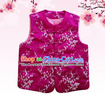 Chinese Classical Brocade Vest Traditional Baby Embroidered Cotton-Padded Waistcoat for Kids