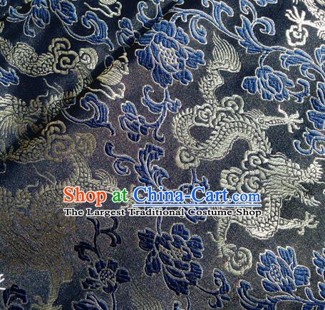 Asian Chinese Traditional Fabric Navy Satin Brocade Silk Material Classical Dragon Pattern Design Satin Drapery