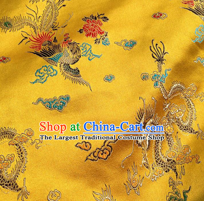 Asian Chinese Traditional Fabric Yellow Satin Brocade Silk Material Classical Dragon Phoenix Pattern Design Satin Drapery