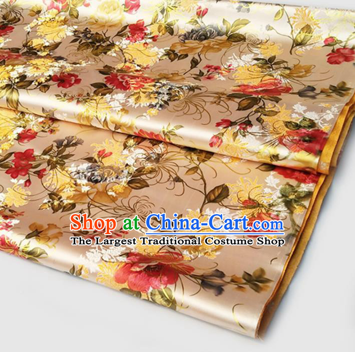 Asian Chinese Traditional Fabric Tang Suit Golden Brocade Silk Material Classical Chrysanthemum Pattern Design Satin Drapery