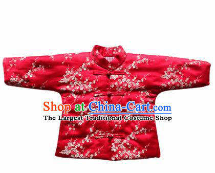 Chinese Classical Red Brocade Blouse Traditional Baby Embroidered Cotton-Padded Jacket for Kids