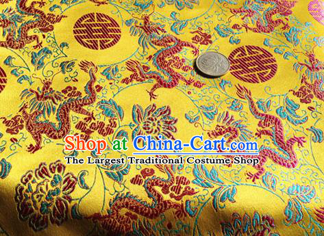 Asian Chinese Traditional Fabric Yellow Satin Brocade Silk Material Classical Dragon Lotus Pattern Design Satin Drapery