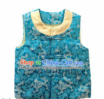 Chinese Classical Blue Brocade Vest Traditional Baby Embroidered Cotton-Padded Waistcoat for Kids