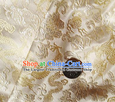 Asian Chinese Traditional Fabric White Satin Brocade Silk Material Classical Dragons Pattern Design Satin Drapery