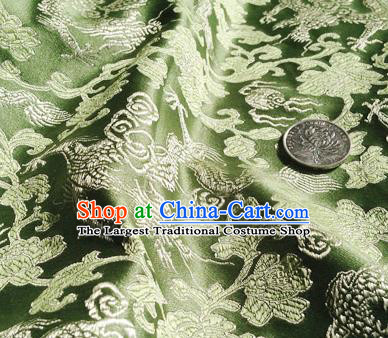 Asian Chinese Traditional Fabric Green Satin Brocade Silk Material Classical Dragons Pattern Design Satin Drapery