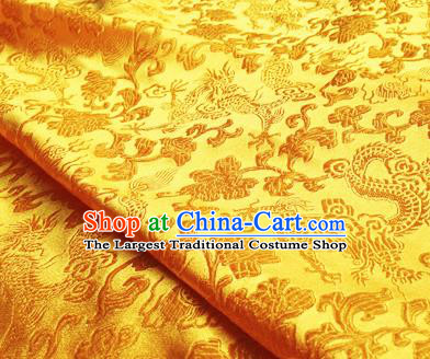 Asian Chinese Traditional Fabric Yellow Satin Brocade Silk Material Classical Dragons Pattern Design Satin Drapery