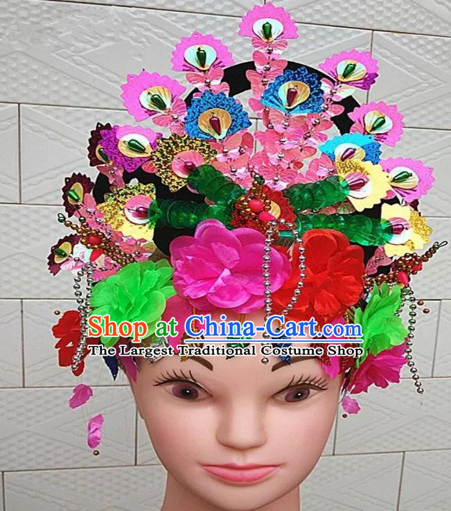 Chinese Traditional Folk Dance Yanko Dance Hair Accessories Peking Opera Headwear for Women