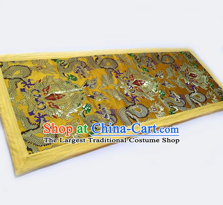 Asian Chinese Traditional Fabric Quilt Brocade Silk Material Classical Dragons Pattern Design Satin Drapery