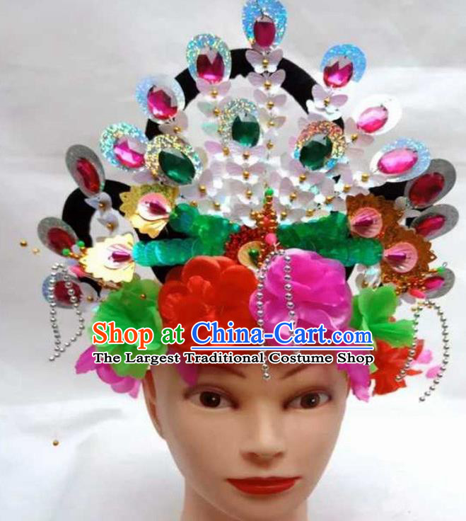 Chinese Traditional Folk Dance Yanko Dance Hair Accessories Ancient Peking Opera Diva Headwear for Women