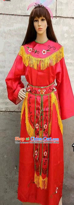 Chinese Traditional Folk Dance Red Costumes Ancient Peking Opera Diva Clothing for Women