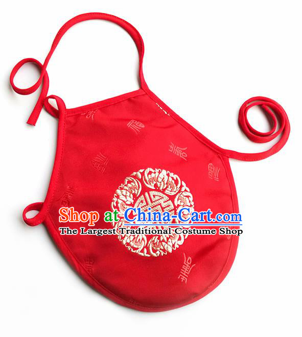 Chinese Classical Brocade Bellyband Traditional Baby Red Silk Stomachers for Kids