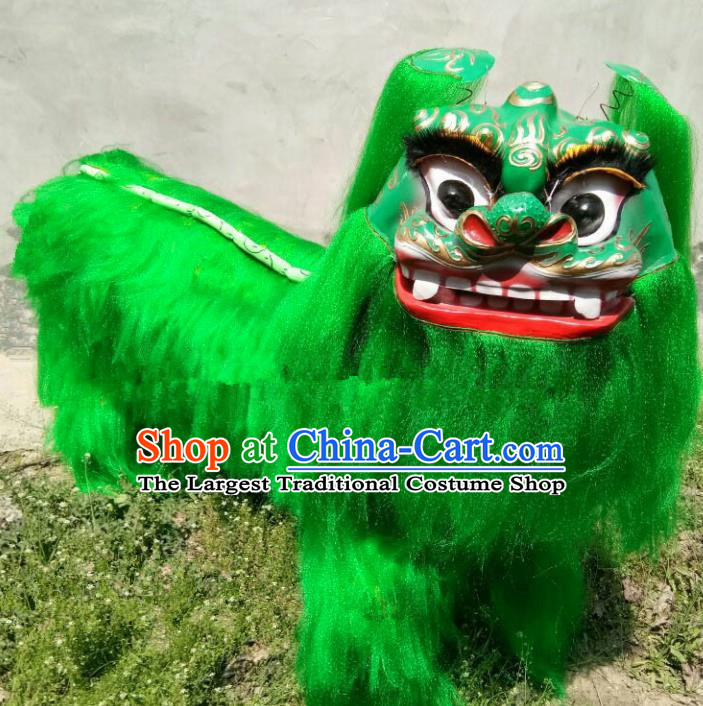 Chinese Traditional Lion Dance Green Fur Costumes Spring Festival Lion Dance Props for Kids
