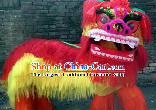 Chinese Traditional Lion Dance Costumes China Spring Festival Lion Dance Props Red Fur Lion Head for Adults