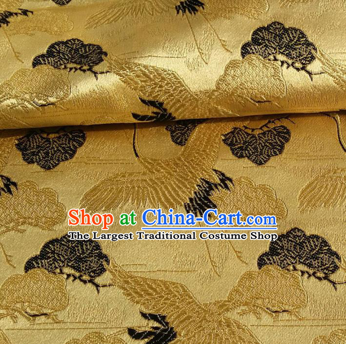 Asian Chinese Traditional Fabric Golden Brocade Silk Material Classical Cranes Pattern Design Satin Drapery