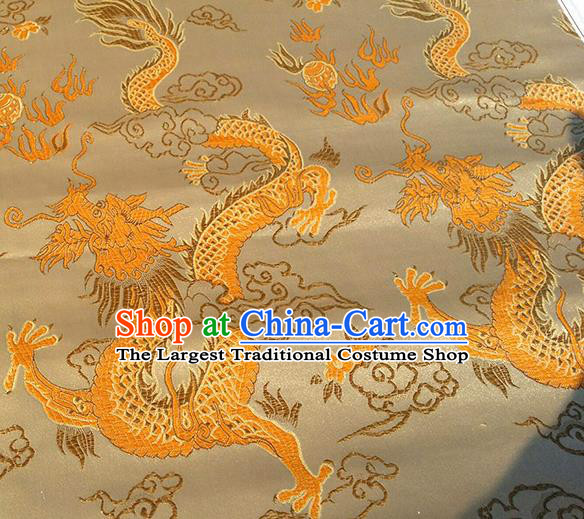 Asian Chinese Traditional Fabric Golden Brocade Silk Material Classical Dragon Pattern Design Satin Drapery