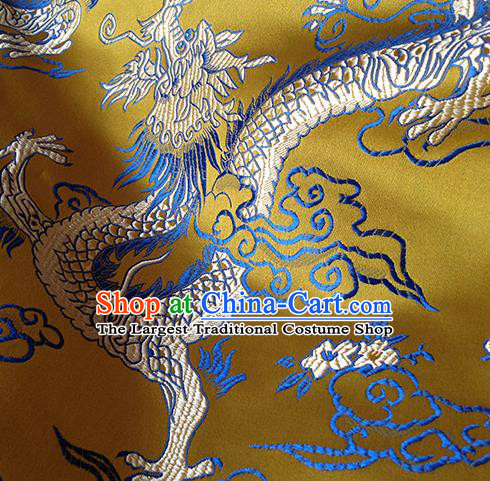 Asian Chinese Traditional Fabric Yellow Satin Brocade Silk Material Classical Dragon Pattern Design Satin Drapery