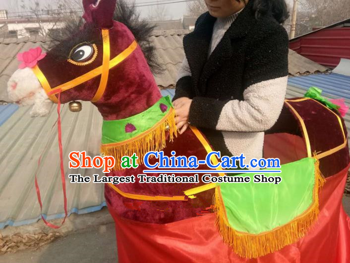 Chinese Traditional Folk Dance Yanko Dance Props Wine Red Donkey Land Boat
