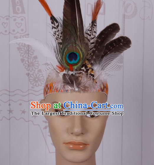 Halloween Catwalks Feather Hair Accessories Cosplay Primitive Tribe Feather Hair Clasp for Kids