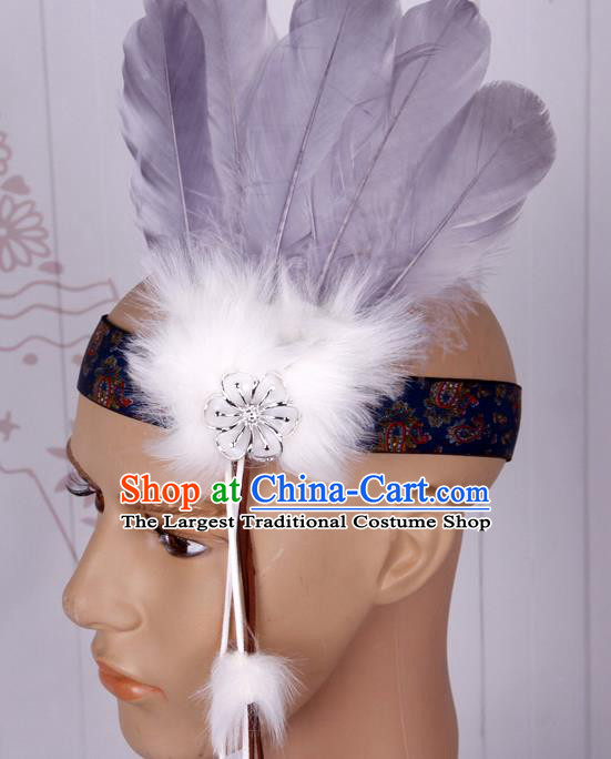 Halloween Catwalks Apache Chief Grey Feather Hair Accessories Cosplay Primitive Tribe Feather Hat for Adults