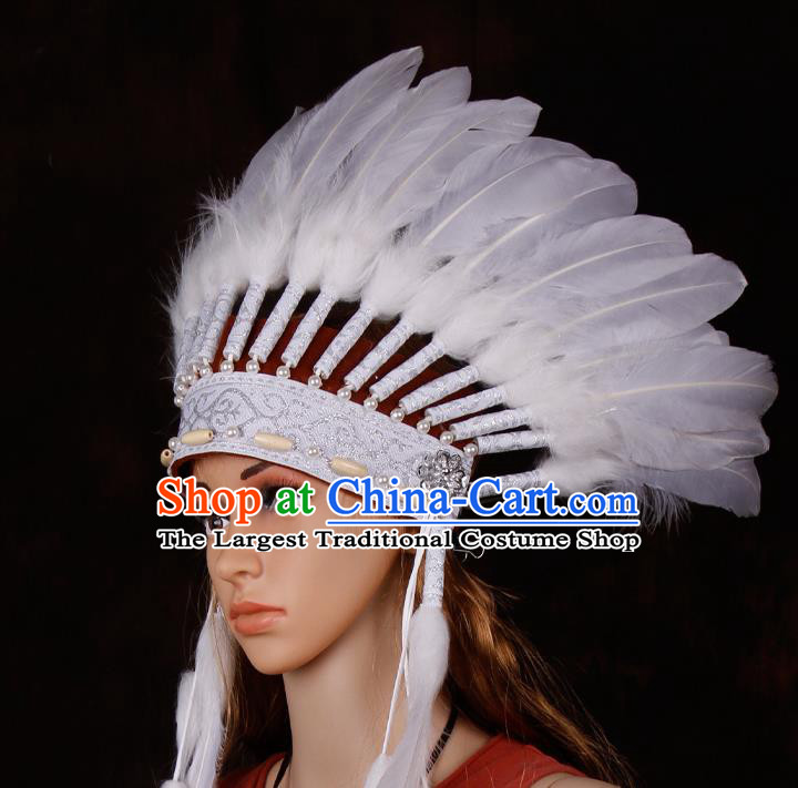 Halloween Catwalks Apache Chief White Feather Headdress Cosplay Thanksgiving Day Primitive Tribe Feather Hat for Adults