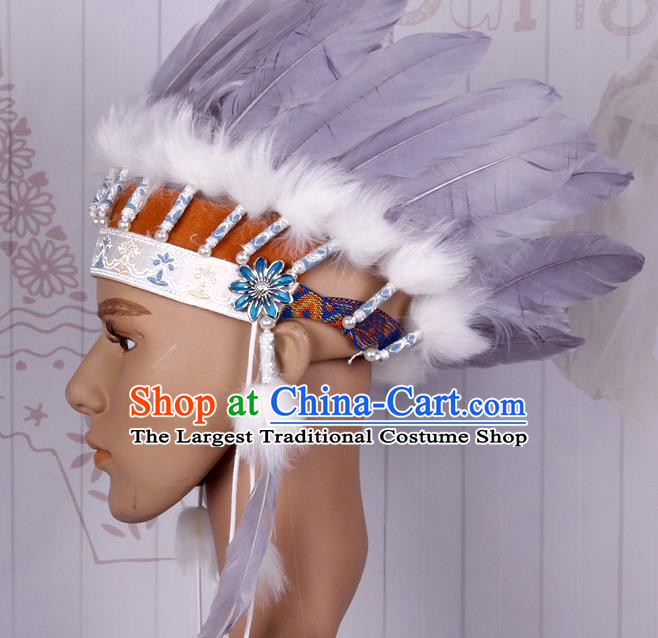 Halloween Catwalks Apache Chief Grey Feather Headdress Cosplay Thanksgiving Day Primitive Tribe Feather Hat for Adults