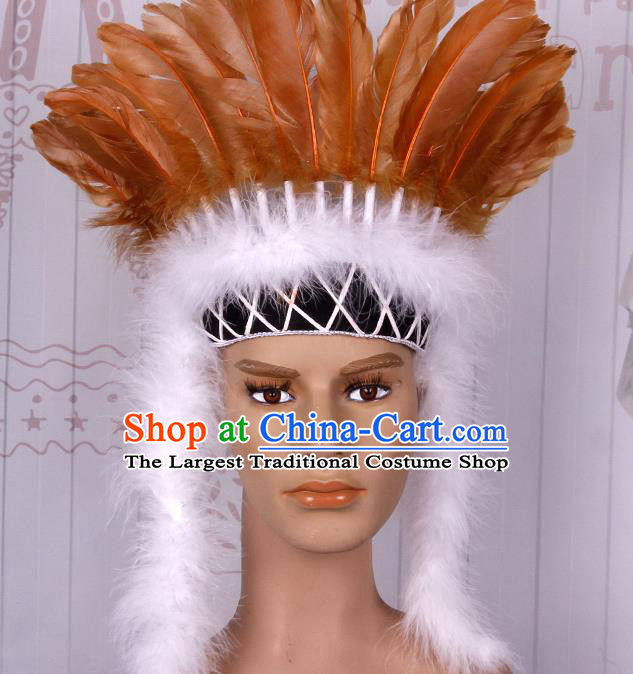 Halloween Catwalks Apache Chief Orange Feather Headdress Cosplay Thanksgiving Day Primitive Tribe Feather Hat for Adults