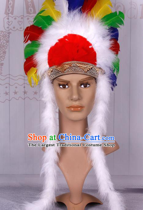 Halloween Catwalks Apache Chief Colorful Feather Headdress Cosplay Thanksgiving Day Primitive Tribe Feather Hat for Adults
