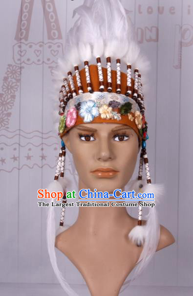 Halloween Catwalks Apache Chief Feather Headdress Cosplay Thanksgiving Day Primitive Tribe Feather Hat for Adults