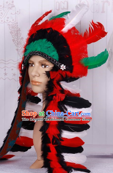 Halloween Catwalks Apache Chief Deluxe Feather Headdress Cosplay Thanksgiving Day Primitive Tribe Feather Hat for Adults