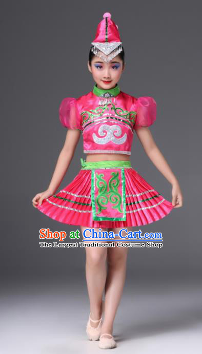Chinese Traditional Ethnic Costumes Miao Nationality Folk Dance Rosy Dress for Kids