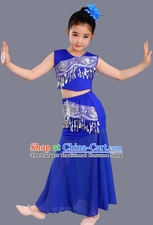 Chinese Traditional Ethnic Costumes Dai Nationality Folk Dance Pavane Royalblue Dress for Kids
