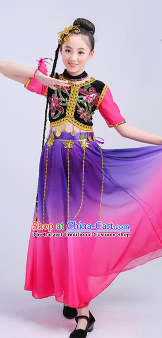 Chinese Traditional Uigurian Ethnic Costumes Uyghur Nationality Folk Dance Dress for Kids