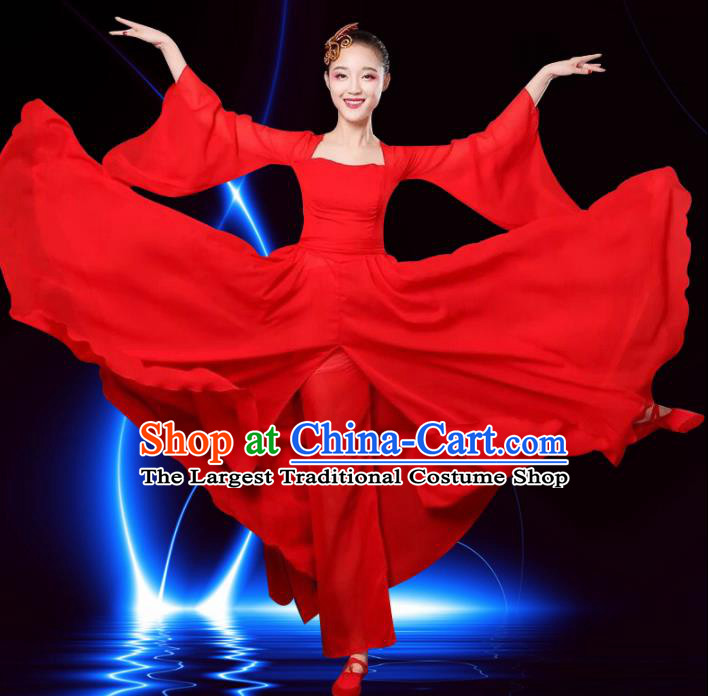 Chinese Traditional Classical Dance Costumes Folk Dance Red Dress for Women