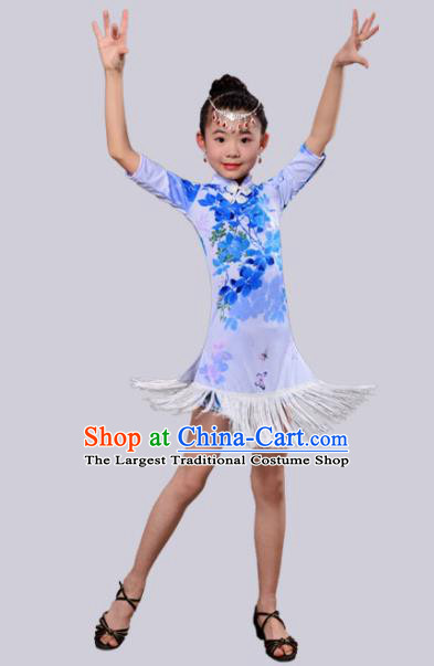 Chinese Traditional Classical Dance Costumes Latin Dance Blue Qipao Dress for Kids