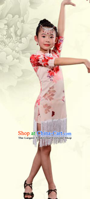 Chinese Traditional Classical Dance Costumes Latin Dance Qipao Dress for Kids