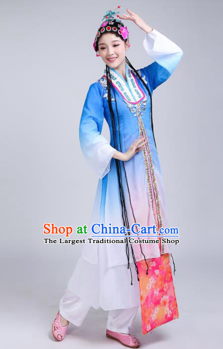 Chinese Traditional Beijing Opera Costumes Folk Dance Blue Dress for Women