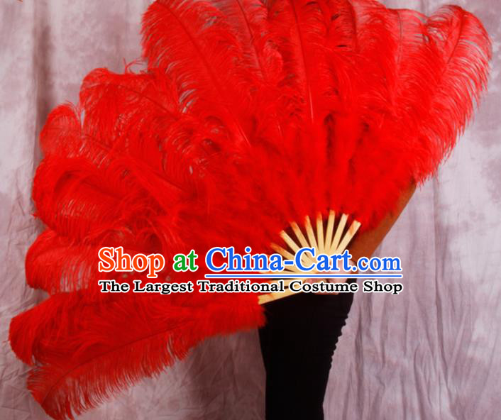 Top Grade Red Feather Fans Halloween Cosplay Folding Fans Belly Dance Fan