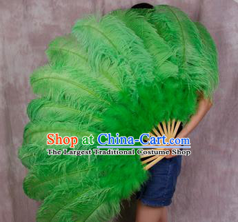 Top Grade Green Feather Fans Halloween Cosplay Folding Fans Belly Dance Fan