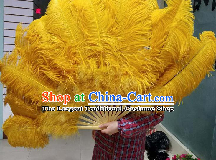 Top Grade Yellow Feather Fans Halloween Cosplay Folding Fans Belly Dance Fan