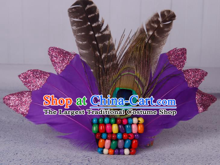 Halloween Catwalks Purple Feather Hair Accessories Cosplay Primitive Tribe Feather Hair Clasp for Kids